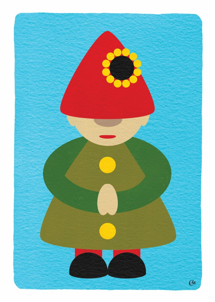 Gnome with red hat and green clothing on a blue background
