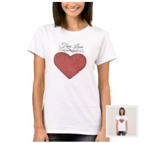 Knit red heart with knitting needles and words true love shirt