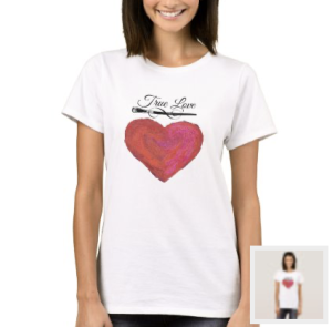 Red painted look heart with paint brush and words True Love t-shirt
