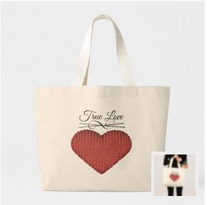 Knit red heart with knitting needles and words true love yarn bag