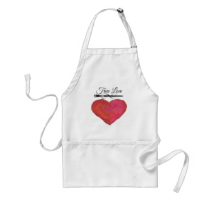 Red painted look heart with paint brush and words True Love apron