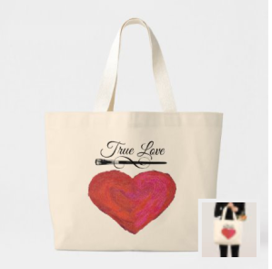 Red painted look heart with paint brush and words True Love painting supply tote