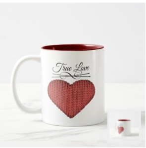 Knit red heart with knitting needles and words true love mug
