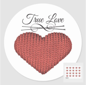 Knit red heart with knitting needles and words true love stickers