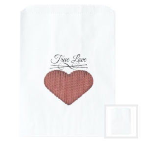Knit red heart with knitting needles and words true love favor bags