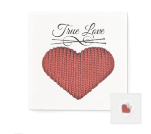 Knit red heart with knitting needles and words true love napkin