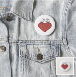 Knit red heart with knitting needles and words true love button