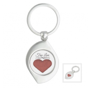 Knit red heart with knitting needles and words true love keychain