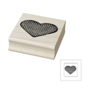Wood rubber stamp knit heart