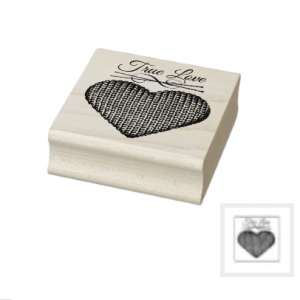 Wood rubber stamp words true love and knit heart