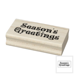 Wood rubber stamp Season's Greetings