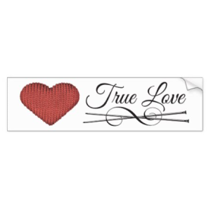 Knit red heart with knitting needles and words true love bumper sticker
