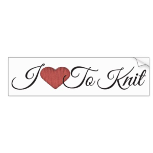 Knit red heart and words I love to knit bumper sticker