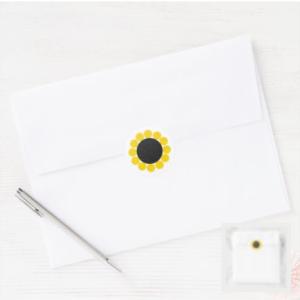 Modern yellow black sunflower sticker