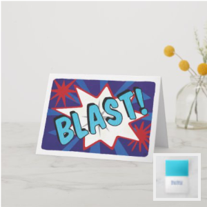 Comic style word blast on background of star bursts red white blue card