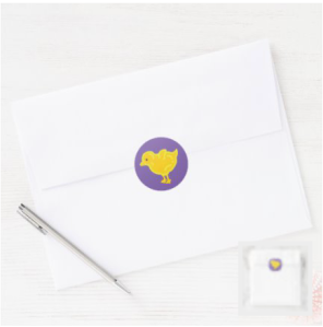 Yellow chick on purple background stickers