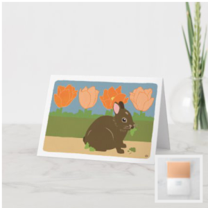 Brown bunny in garden peach tulips green hedge card