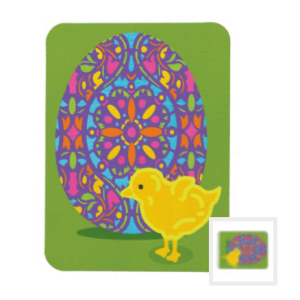 Yellow chick with ornate multicolor egg on green card