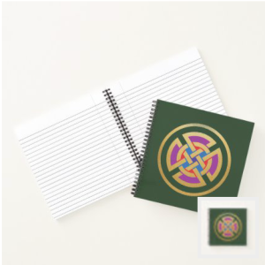 Celtic Knot in green purple red blue and metallic gold notebook