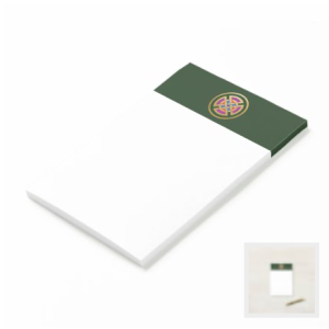 Celtic Knot in green purple red blue and metallic gold notepad