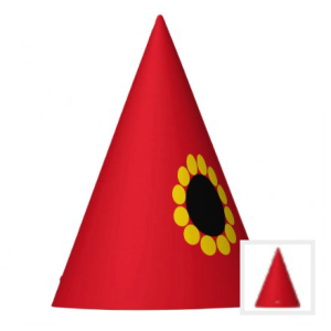 Red gnome party hat with sunflower accent
