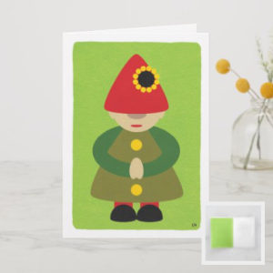 Modern gnome on green background