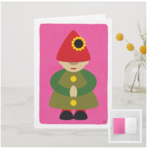 Modern gnome on pink background