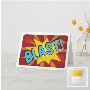 Comic style word blast on background of star bursts red yellow tan blue card