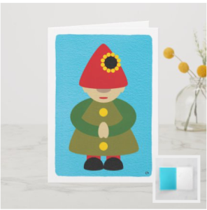 Modern gnome figure on a blue background