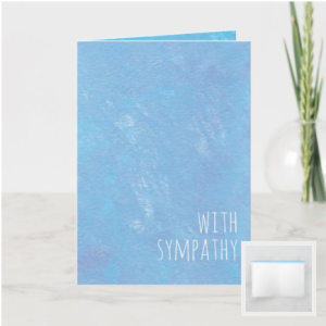 Modern thin white text on blue painted background card