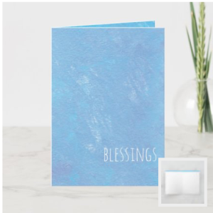 Modern blessings card with blue painted background