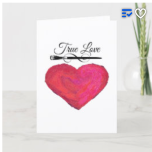 white card with painted heart, paint brush and text