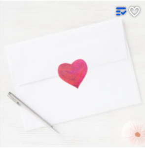 heart shaped sticker with painted surface