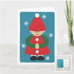 Winter gnome on blue background snowflakes card