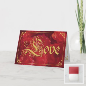 vintage style card with red roses and fancy gold trim and lettering