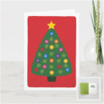 Christmas tree with glowing multicolor lights and star on a red background card