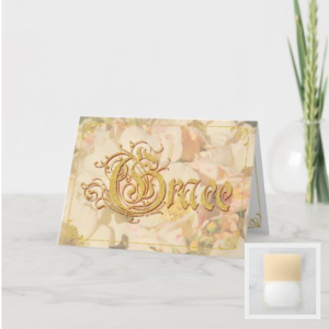 Formal word Grace fancy type on cream roses background gold accents