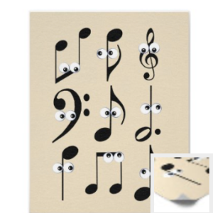 Nine funny musical notes with google eyes