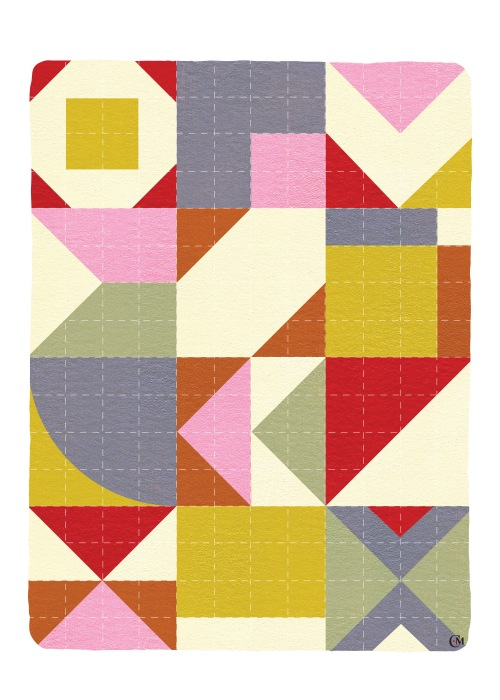 Greeting card with quilt on front