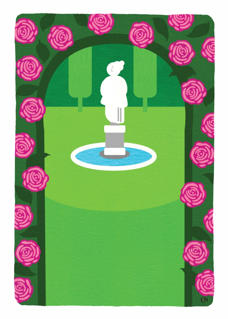 Image of a whimsical formal garden. Through the rose trellis is a statue in the distance that sits atop a small pond. Sculptured evergreen plants form the background.