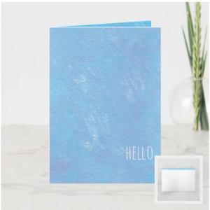 Modern hello card with blue painted background