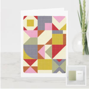 Birthday card with quilt on front