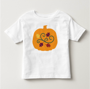 A toddler will be excited to get a new pumpkin t-shirt from you. The t-shirt is decorated with a pumpkin, leaves, and a vine. Colors are orange, yellow, brown, maroon, and green. Little ones will love learning about the leaves, colors, and pumpkins of fall.