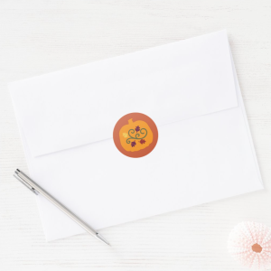 """Festive orange pumpkin sticker is the perfect finishing touch to your envelopes, packages, favor/treat bags, gift tags or hand-made items. Pairs with the """"Fall Kids Puzzles Activity Card""""."""