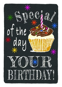 I have a new birthday card design to share. Illustration of a cafe chalkboard with white words, blue, yellow, green, pink, orange and red stars and a cupcake with candle. The candle creates the i in Special. Digital image of hand-painted paper.