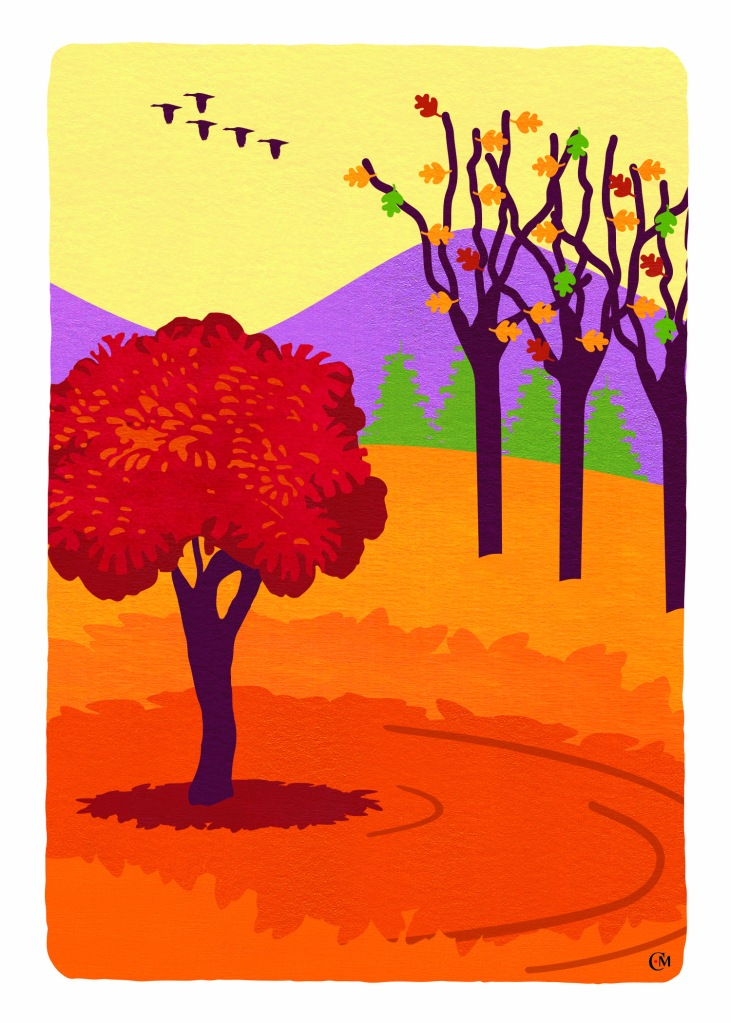 Beautiful fall colors in a nature landscape. Red, orange, yellow, cream, green, brown, and purple painted paper used in a digital image.