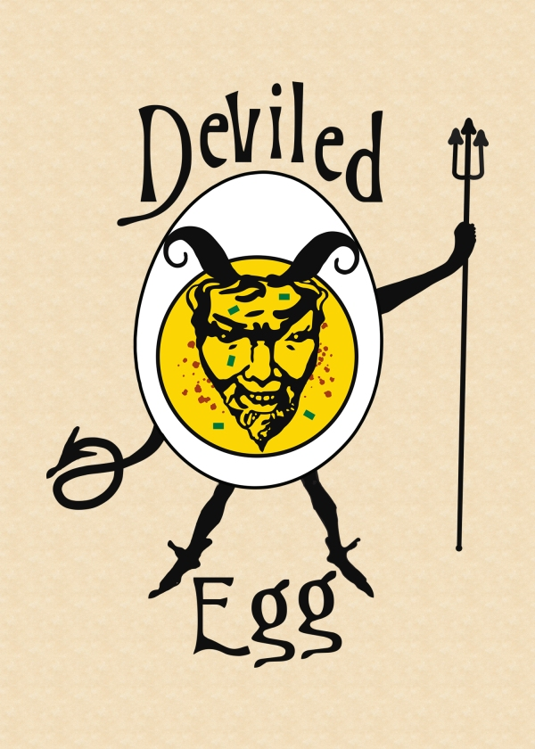 This intriguing, deviled egg card is perfect for those who love nostalgia. The Art Nouveau illustration style and type create a historic feel to this image of a favorite, American appetizer. This card has a color pallet of black, yellow, and white on a parchment background with traditional green chopped chives and spicy red paprika. This illustration is a digital drawing. Inside: Happy National Deviled Egg Day