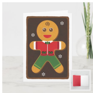 Gingerbread man on a baking tray with a traditional icing outfit. A dusting of candy flakes surrounds him. This modern style illustration with a touch of whimsy will delight any baker on your holiday card list. Hand-painted acrylic on paper was used in this digital composition.