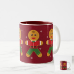 Gingerbread man on a red background with traditional icing clothing.