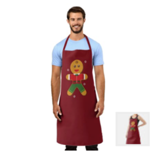 Gingerbread man on a red background with traditional icing clothing. A dusting of candy flakes surrounds him. This modern style illustration with a touch of whimsy will delight any baker on your holiday list. Available in different sizes.